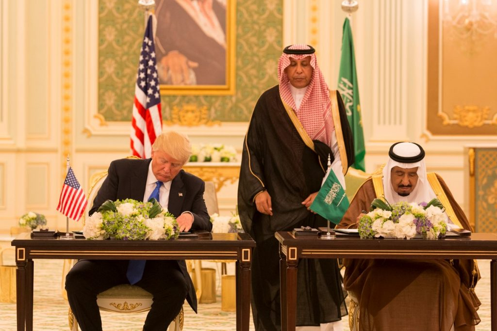 Donald Trump and King Salman Signing Joint Strategic Vision Statement